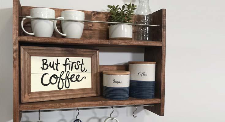 Barra de café de la unidad de estantería