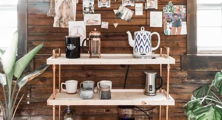 Carro de café de madera y cobre DIY