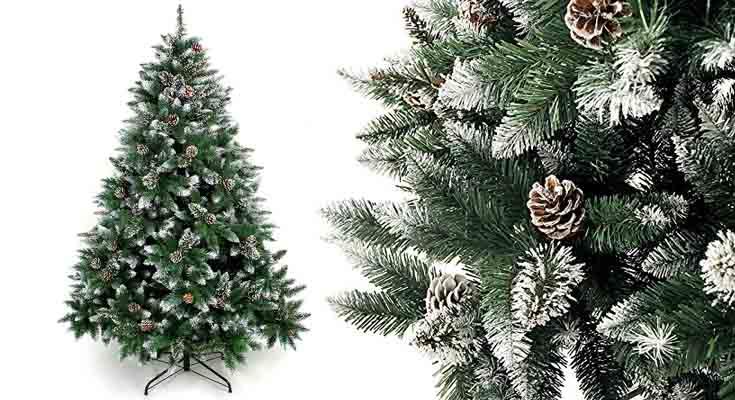 Yorbay - Árbol de Navidad Artificial Natural de Blanco Nevado