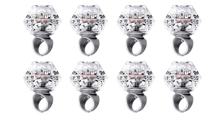 Konsait Anillo Luminoso LED glow diamantes juguetes Anillo De Goma