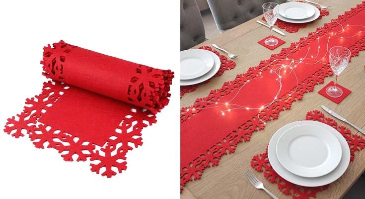 2m Poly Felt Red Christmas Snow Flake Table Runner Festive