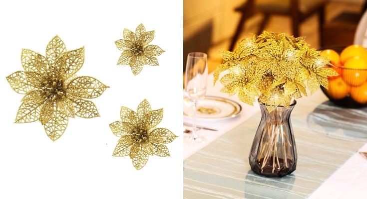 Boao 24 Piezas de Poinsettia Brillante Adorno de Árbol de Navidad Flores