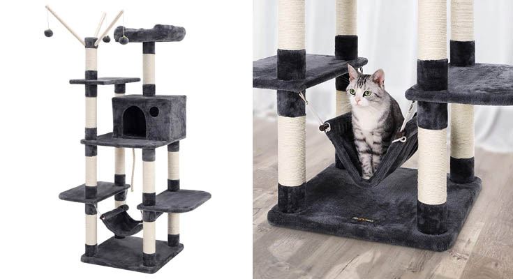 FEANDREA Árbol para Gatos, Rascador con Nidos