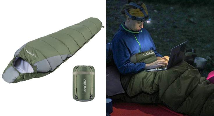 LANGRIA Saco de Dormir Ligero de 3 Estaciones con Saco de Compresion