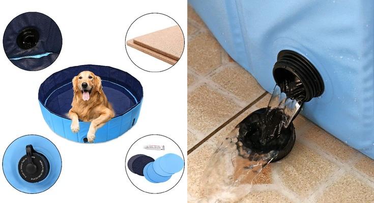 Piscina de Baño Ducha Plegable para Mascota Bañera Portátil